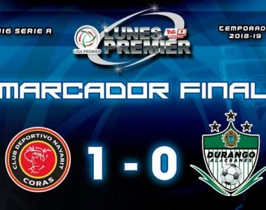 Fútbol, Liga Premier FMF: Coras se quedan con la victoria en casa ante Durango