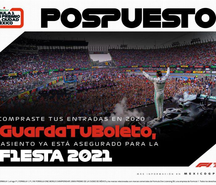 Fórmula 1: Gran Premio de México se POSPONE
